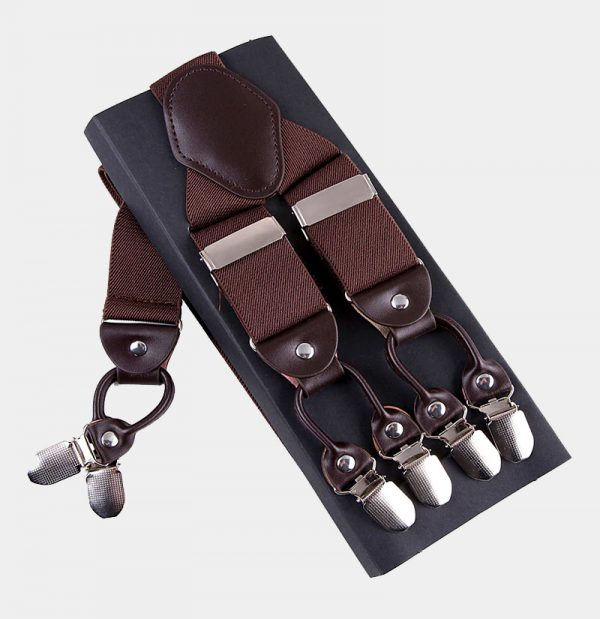 Brown Double Clip Suspenders -Dual Clip Suspenders- BrownTuxedo Suspenders-Hold Up Suspenders-Double Up Suspenders from Gentlemansguru.com