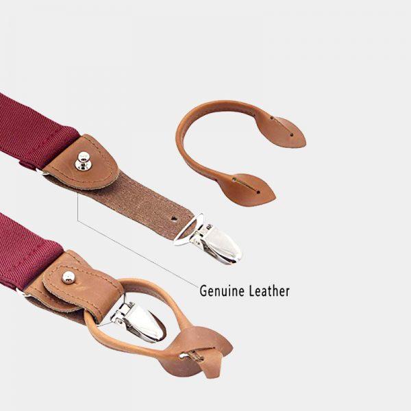 Burgundy Button End Suspenders With Brown Genuine Leather from Gentlemansguru.com