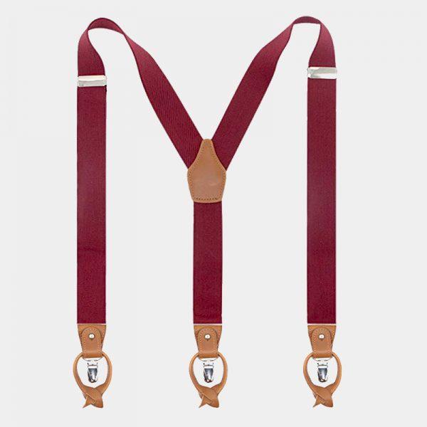 Burgundy Button End Suspenders With Brown Leather from Gentlemansguru.com