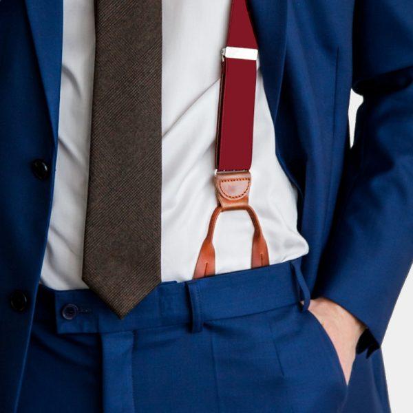 Burgundy Button Suspenders With Brown Leather from Gentlemansguru.com