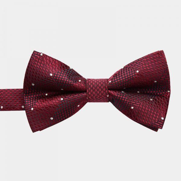 Burgundy Dotted Pre-Tie Bow Tie from Gentlemansguru.com