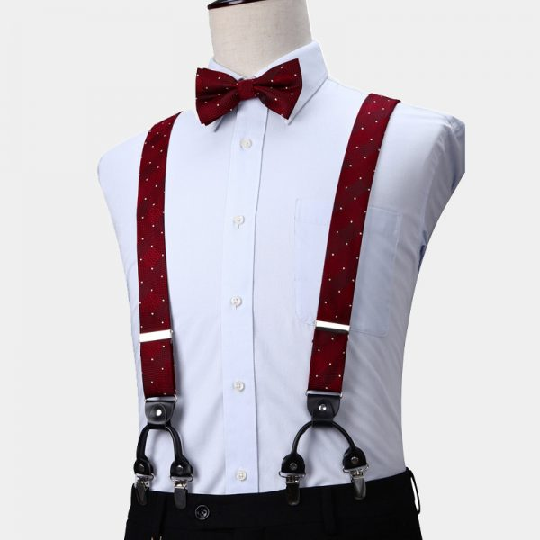 Burgundy Dotted Suspenders And Bow Tie Set from Gentlemansguru.com