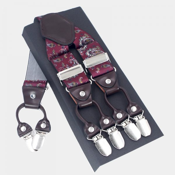 Burgundy Paisley Suspenders, Double Clip Suspenders Dual Clip Suspenders -Tuxedo Suspenders-Hold Up Suspenders-Double Up Suspenders from Gentlemansguru.com