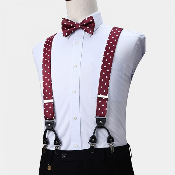 Burgundy Polka Dot Suspenders And Bow Tie Set from Gentlemansguru.com