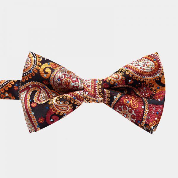 Burnt Orange Paisley Pre-Tie Bow Tie from Gentlemansguru.com
