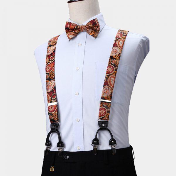 Burnt Orange Paisley Suspenders And Bow Tie Set from Gentlemansguru.com