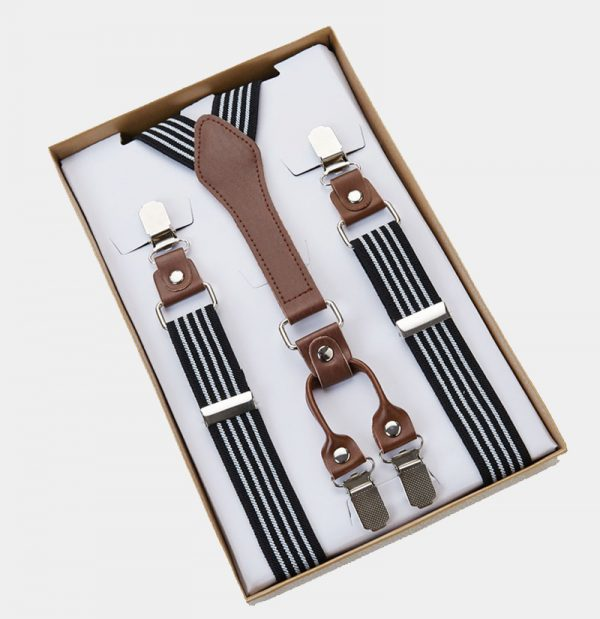 Classic Black And White Striped Suspenders from Gentlemansguru.com
