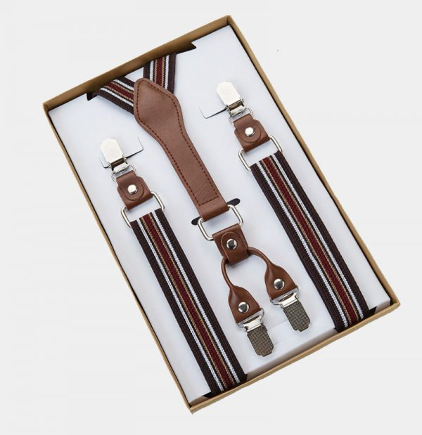 Classic Brown Striped Suspenders from Gentlemansguru.com