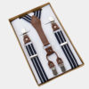 Classic Navy Blue And White Striped Suspenders from Gentlemansguru.com
