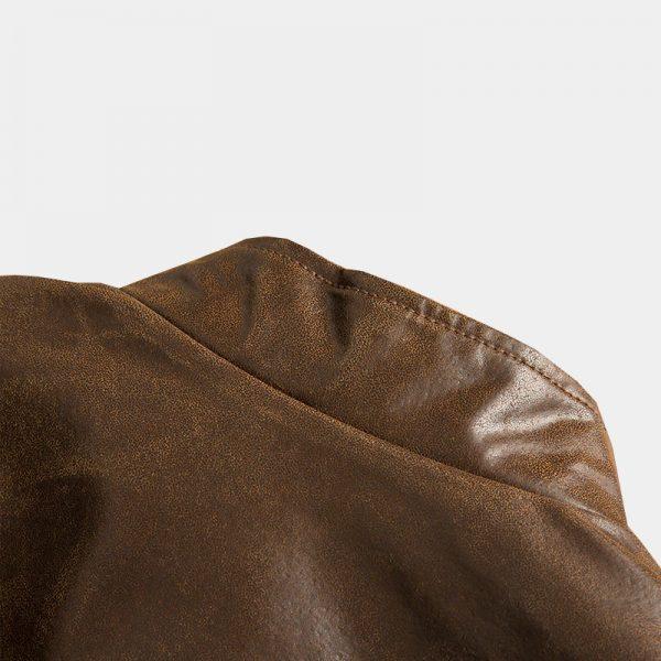 Distressed Brown Motorcycle Genuine Leather Jacket from Gentlemansguru.com