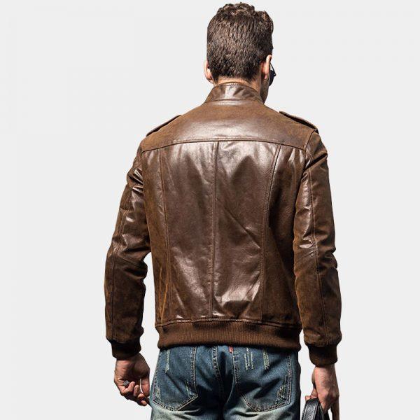 Distressed Mens Brown Motorcycle Genuine Leather Jacket from Gentlemansguru.com