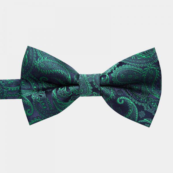 Emerald Green Paisley Pre-Tie Bow Tie from Gentlemansguru.com