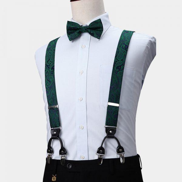 Emerald Green Paisley Suspenders And Bow Tie Set from Gentlemansguru.com