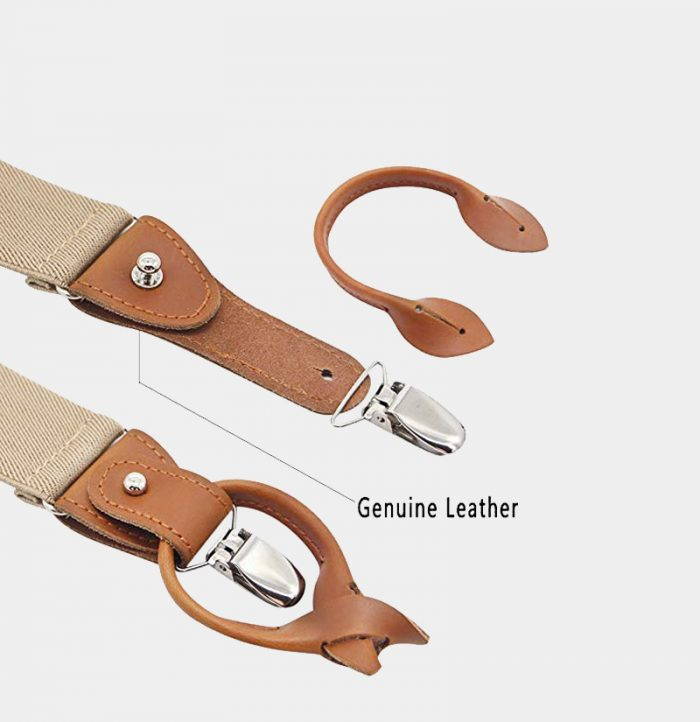 Genuine Leather Beige Button End Suspenders For men from Gentlemansguru.com