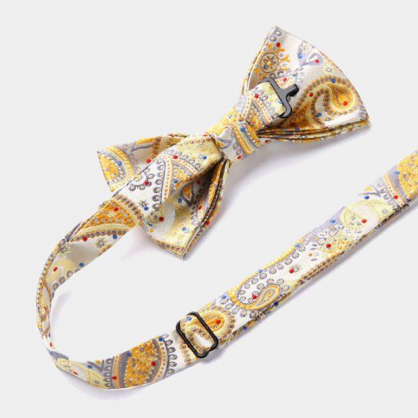 Gold Paisley Bow Tie Set from Gentlemansguru.com