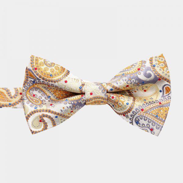 Gold Paisley Pre-Tie Bow Tie from Gentlemansguru.com