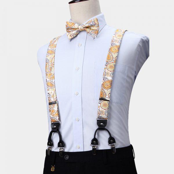 Gold Paisley Suspenders And Bow Tie Set from Gentlemansguru.com
