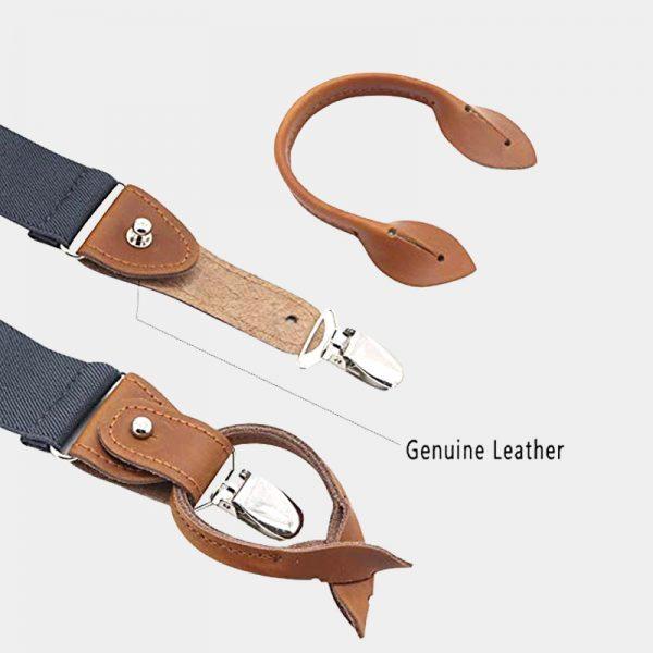 Gray Button End Suspenders With Brown Genuine Leather from Gentlemansguru.com