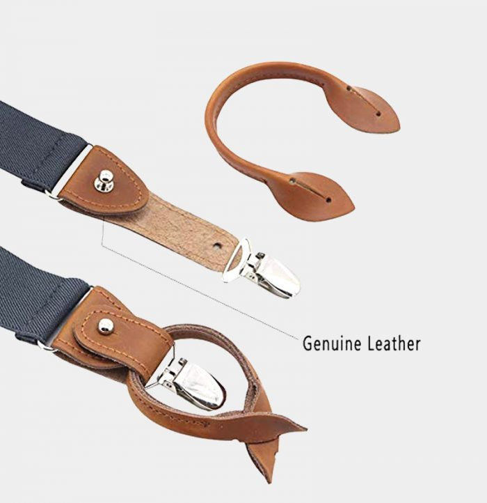 Gray Button End Suspenders With Brown Genuine Leather from Gentlemansguru.com