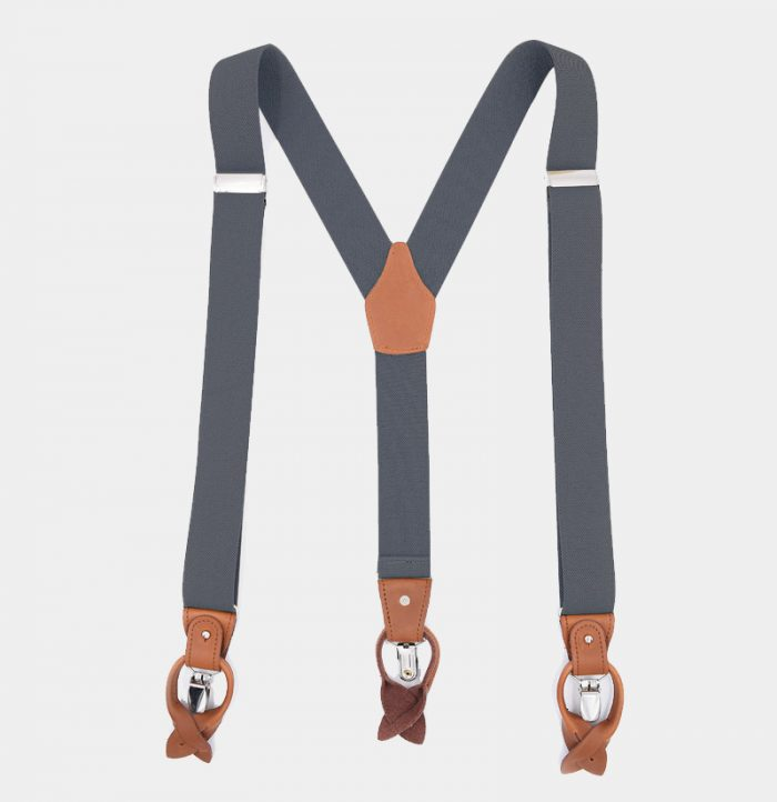 Gray Button End Suspenders With Brown Leather from Gentlemansguru.com