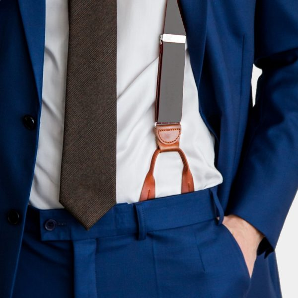 Gray Button Suspenders With Brown Leather from Gentlemansguru.com