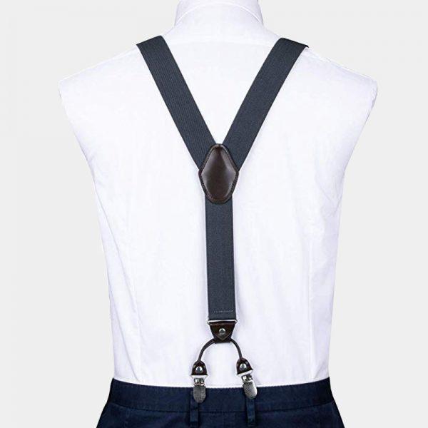 Gray Dual Clip Double Ups Suspenders from Gentlemansguru.com