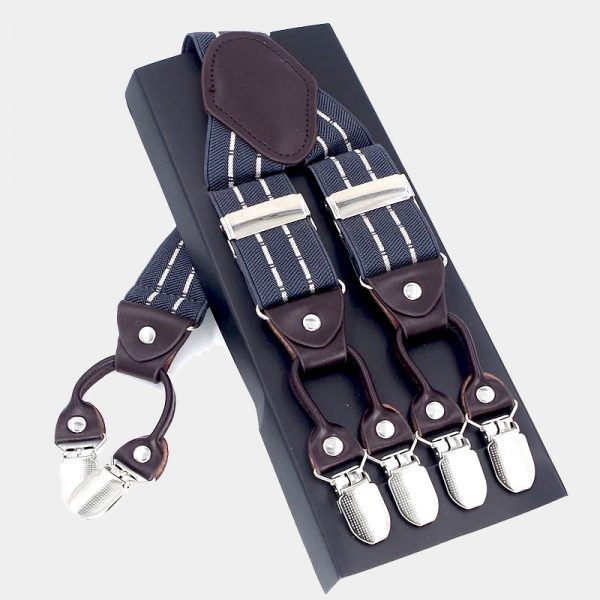 Gray Striped Double Clip Suspenders Dual Clip Suspenders -Tuxedo Suspenders-Hold Up Suspenders-Double Up Suspenders from Gentlemansguru.com