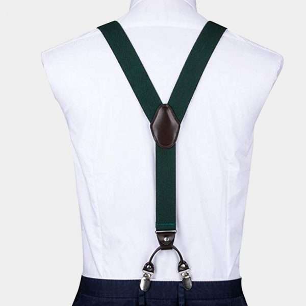 Hunter Green Dual Clip Double Ups Suspenders from Gentlemansguru.com
