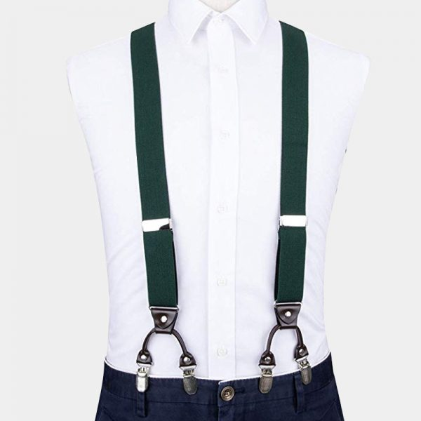 Hunter Green Dual Clip Suspenders from Gentlemansguru.com