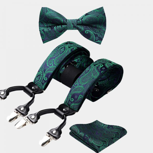 Emerald Green Paisley Bow Tie And Suspenders Set from Gentlemansguru.com