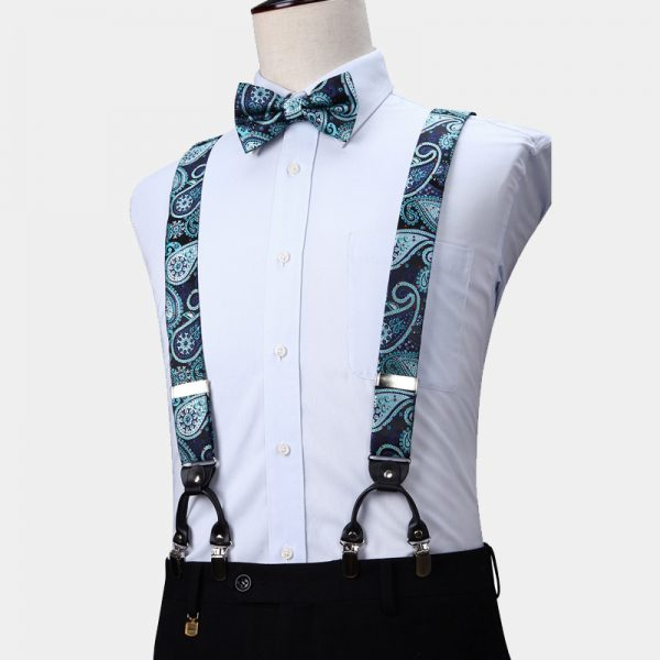 Hunter Green Paisley Suspenders And Bow Tie Set from Gentlemansguru.com