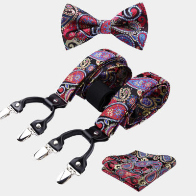Magenta Paisley Bow Tie And Suspenders Set from Gentlemansguru.com