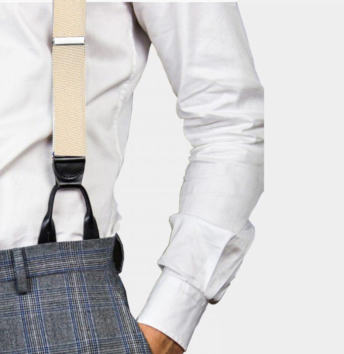 Mens Beige Button On Suspenders Braces from Gentlemansguru.com