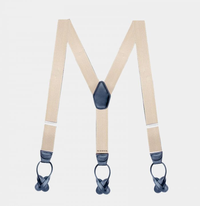 Mens Beige Button Suspenders Braces For Trousers from Gentlemansguru.com