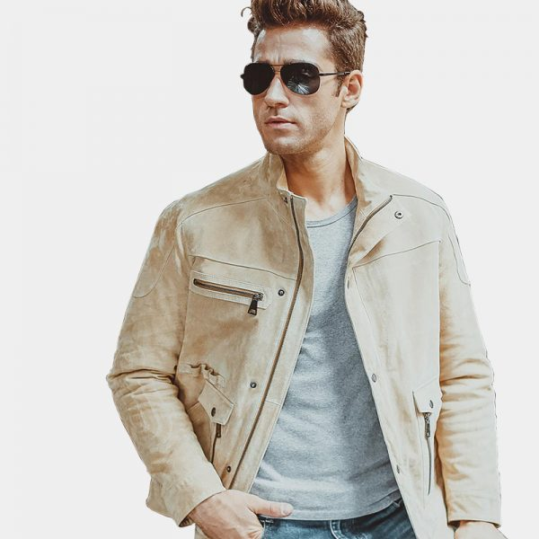 Men's Beige Suede Leather Jacket from Gentlemansguru.com