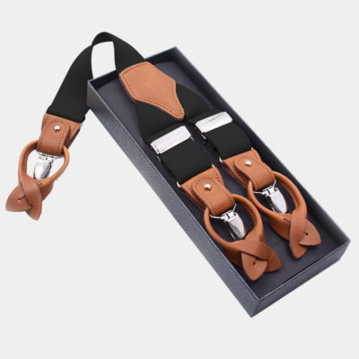 Mens Black Button End Suspenders from Gentlemansguru.com