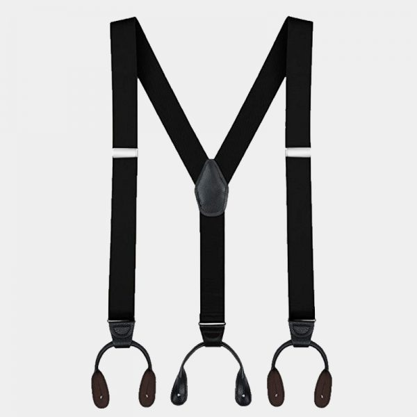 Mens Black Button Suspenders Braces With Black Leather from Gentlemansguru.com
