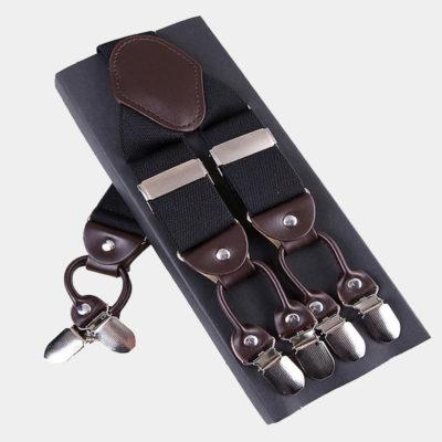 Mens Black Double Clip Suspenders -Dual Clip Suspenders-Black Tuxedo Suspenders-Hold Up Suspenders-Double Up Suspenders from Gentlemansguru.com