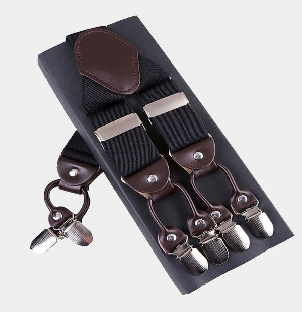 Mens Black Double Clip Suspenders -Dual Clip Suspenders-Black Tuxedo Suspenders-Hold Up Suspenders-Double Up Suspenders from Gentlemansguru.com