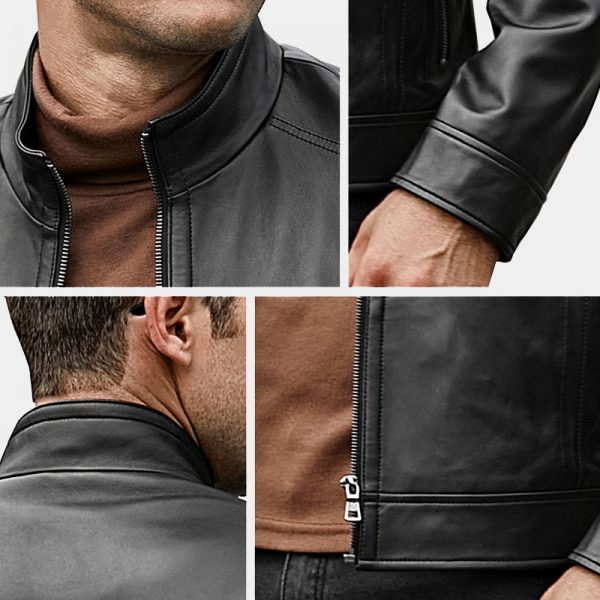 Men's Black Genuine Lambskin Leather Coat Motorcycle Jacket from Gentlemansguru.com