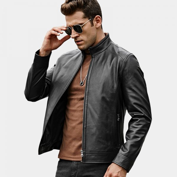 Men's Black Lambskin Leather Jacket from Gentlemansguru.com