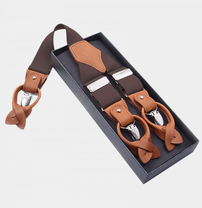 Mens Brown Button End Suspenders from Gentlemansguru.com