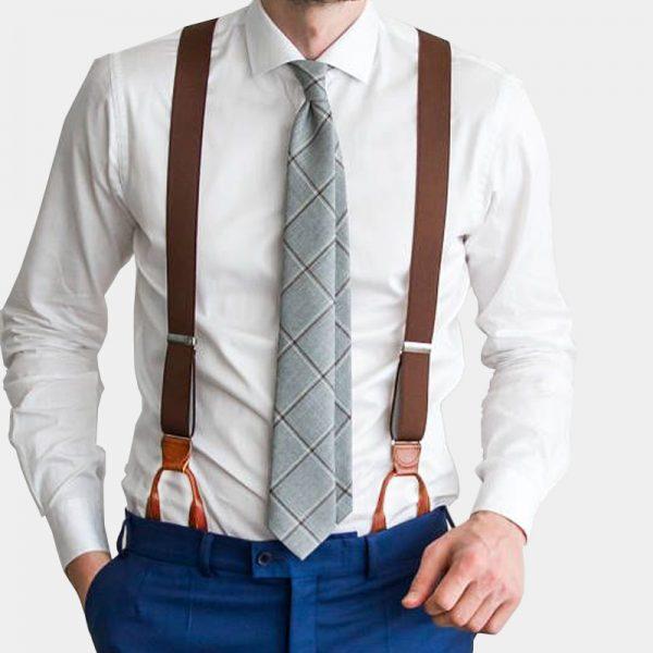 Mens Brown Button Suspenders from Gentlemansguru.com