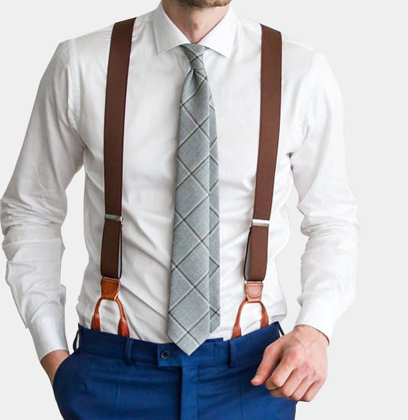 Mens Brown Button Suspenders from Gentlemansguru.com