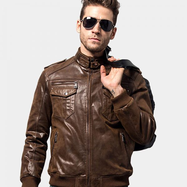 Mens Brown Leather Motorcycle Jacket from Gentlemansguru.com (2)