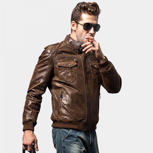 Mens Brown Leather Motorcycle Jacket from Gentlemansguru.com