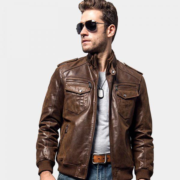 Men's Brown Motorcycle Leather Jacket from Gentlemansguru.com
