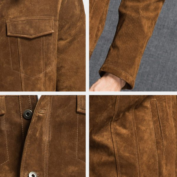 Mens Brown Suede Genuine Leather Jacket from Gentlemansguru.com