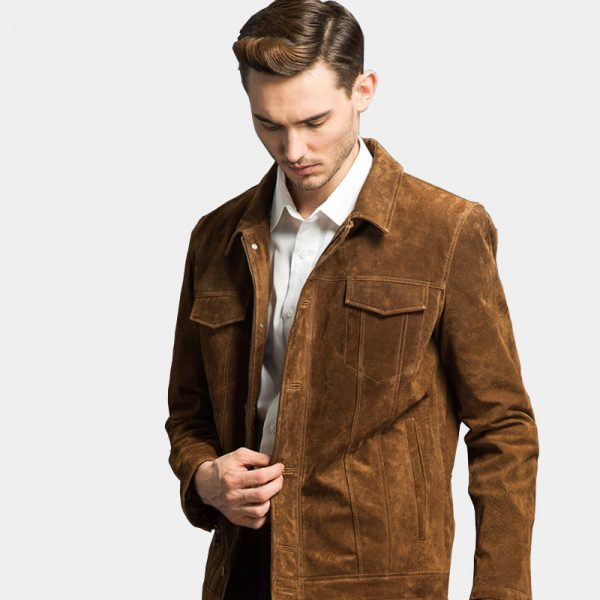 Men's Brown Suede Lather Coat Jacket Mens from Gentlemansguru.com-Récupéré-Récupéré