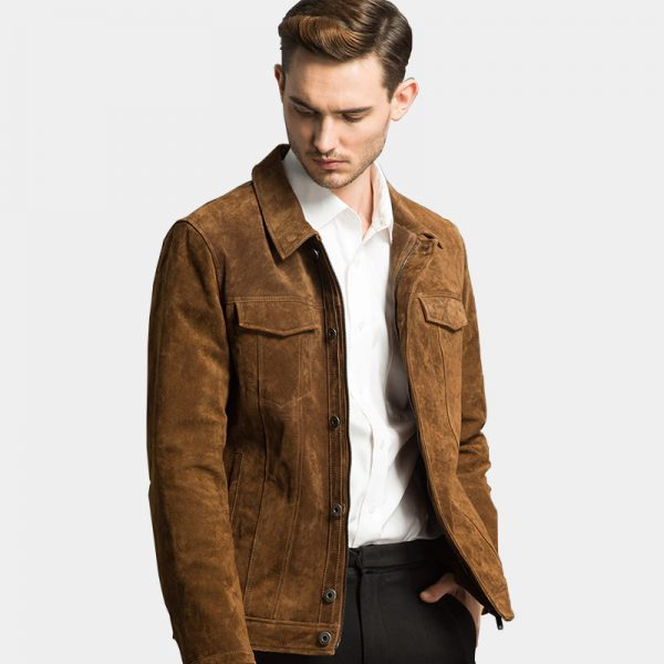 Mens Brown Suede Leather Jacket from Gentlemansguru.com